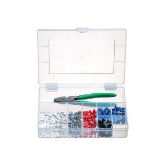 Sortimentskasten mit Presswerkzeug und isolierten Aderendhülsen